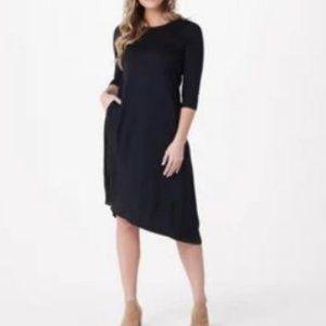 LOGO Lounge French Terry 3/4 Sleeve Dress w/ Satin